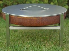 Stainless steel cover/lid with a fire pit Parnidis Short