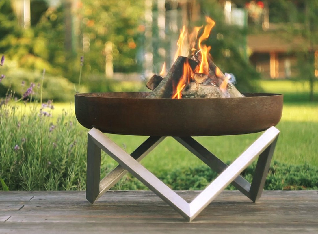 modern fire pit ... - Modern Fire Pit Memel- Combination Of Rust (Carbon) And Stainless Steel
