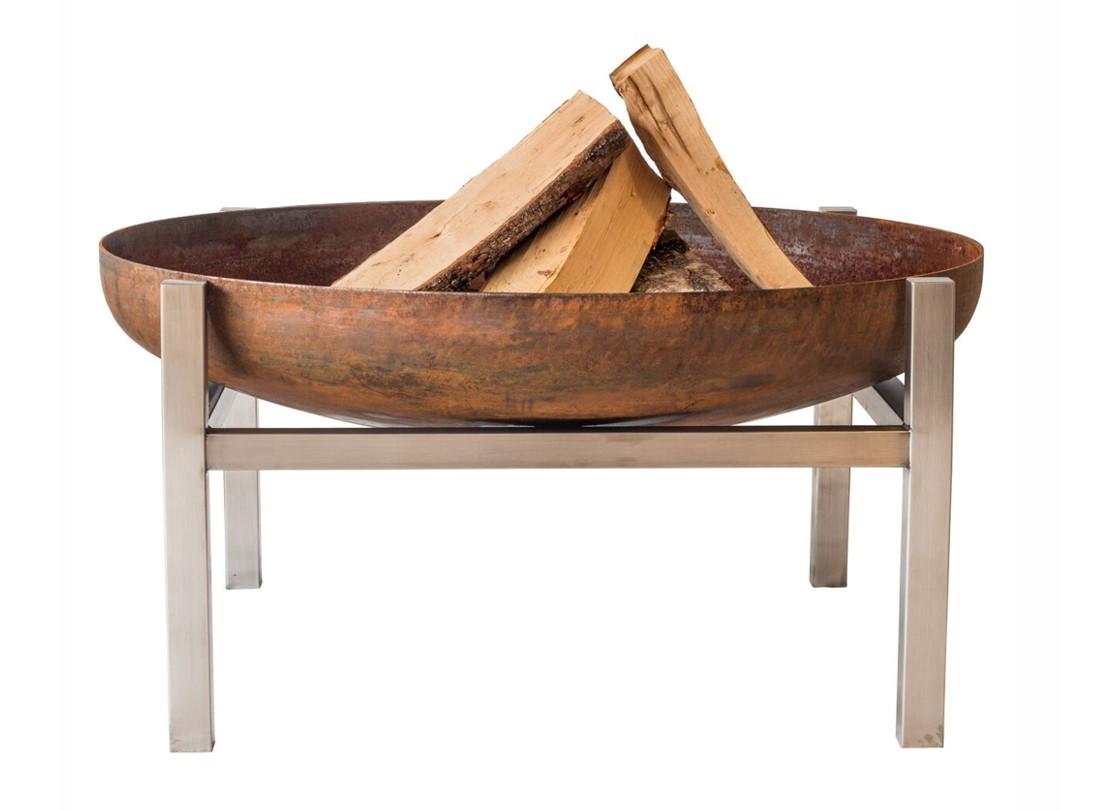 contemporary fire pit with wood logs