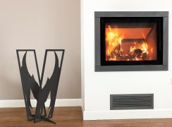 Modern log rack flame black