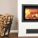 Modern log rack flame black