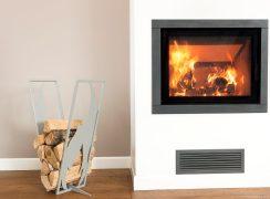 Modern log rack flame silver-grey