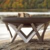 vingis fire pit with woods, on the bench of the lake