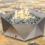 Junda Propane (Gas) Stainless Steel Fire Pit with fire