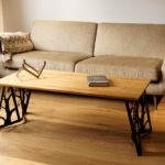 Solid Oak Wood and Powder Coated Steel Origami Coffee Table